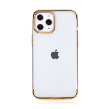 Kryt FORCELL Electro pro Apple iPhone 12 / 12 Pro - gumový - průhledný / zlatý