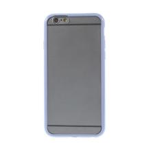 Kryt pro Apple iPhone 6 / 6S - gumový plastový / fialový rámeček - matný průhledný