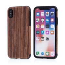 Kryt pro Apple iPhone X - gumový - hnědý / motiv dřeva ořech