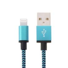 Synchronizační a nabíjecí kabel Lightning - tkanička - černý / modrý - 2m