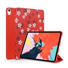"""Pouzdro pro Apple iPad Pro 11"""" - umělá kůže / silikon - funkce chytrého uspání - květiny"""