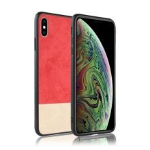 Kryt pro Apple iPhone Xs Max - plastový / umělá kůže - červený / béžový