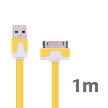 Synchronizační a nabíjecí plochý USB kabel pro Apple iPhone / iPad / iPod - žlutý