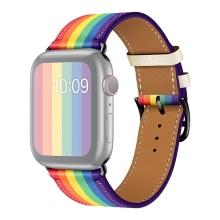 Řemínek pro Apple Watch 44mm Series 4 / 5 / 6 / SE / 42mm 1 2 3 - umělá kůže - duhový - černý