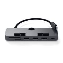 Dokovací stanice / port replikátor pro Apple iMac - USB-C na USB-C + 3x USB-A + SD + micro SD - šedá