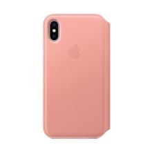 Originální pouzdro Apple Folio pro Apple iPhone X - kožené - bledě růžové