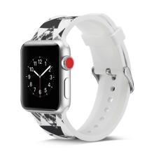 Řemínek pro Apple Watch 44mm Series 4 / 5 / 6 / SE / 42mm 1 / 2 / 3 - silikonový - trojúhelníkový vzor