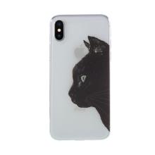 Kryt pro Apple iPhone X / Xs - gumový - průhledný - kočka