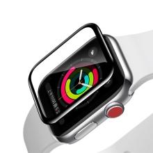 Tvrzené sklo (Tempered Glass) BASEUS pro Apple Watch 42mm series 1 / 2 / 3 - 3D rámeček - černé