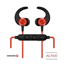 Sluchátka SWISSTEN Active - bezdrátová - Bluetooth 4.2 - mikrofon + ovládání - červená