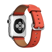 Řemínek pro Apple Watch 44mm Series 4 / 5 / 42mm 1 2 3 - kožený - červený