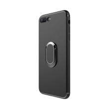 Kryt pro Apple iPhone 7 Plus / 8 Plus - stojánek + kovová ploška - gumový - černý