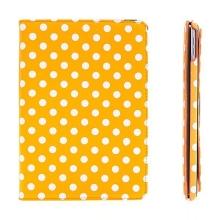 Pouzdro pro Apple iPad Air 2 s 360° otočným stojánkem - oranžové s bílými puntíky