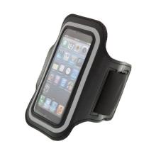 Sportovní pouzdro pro Apple iPhone 5 / 5C / 5S / SE - černé s reflexním pruhem