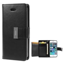 Vyklápěcí pouzdro - peněženka Mercury pro Apple iPhone 5 / 5S / SE - s prostorem pro umístění platebních karet - černé