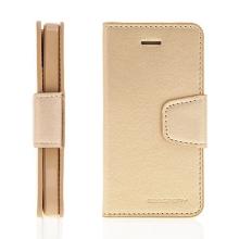 Vyklápěcí pouzdro Mercury Sonata Diary pro Apple iPhone 5 / 5S / SE se stojánkem a prostorem na osobní doklady - zlaté