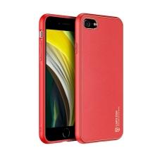 Kryt DUX DUCIS Yolo pro Apple iPhone 7 / 8 / SE (2020) - umělá kůže - červený / zlatý