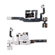 Flex kabel s audio jackem, přepínačem mute, ovládáním volume a vrchním mikrofonem pro Apple iPhone 4S - bílý - kvalita A+