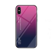 Kryt pro Apple iPhone Xs Max - sklo / guma - růžový