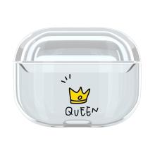 Pouzdro / obal pro Apple AirPods Pro - plastové - průhledné / korunka Queen