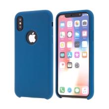 Kryt pro Apple iPhone X - gumový - příjemný na dotek - výřez pro logo - tmavě modrý
