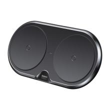 Bezdrátová nabíječka / podložka Qi BASEUS pro dvě zařízení - černá