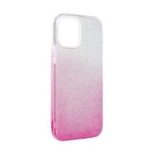 Kryt FORCELL Shining pro Apple iPhone 12 Pro Max - plastový / gumový - stříbrný / růžový