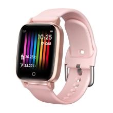 Fitness chytré hodinky T1 - měření teploty / krokoměr / měřič tepu - Bluetooth - kovové - Rose Gold růžové