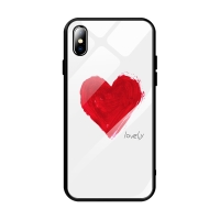 "Kryt pro Apple iPhone Xs Max - srdce ""lovely"" - guma / sklo - černý / bílý"