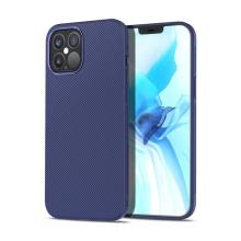 Kryt pro Apple iPhone 12 / 12 Pro - pruhovaná textura - gumový - tmavě modrý