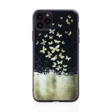 Kryt pro Apple iPhone 11 Pro Max - gumový - černý - roj motýlů