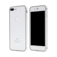 Rámeček / bumper s ochranou kamery pro Apple iPhone 7 Plus / 8 Plus - guma / hliník - stříbrný