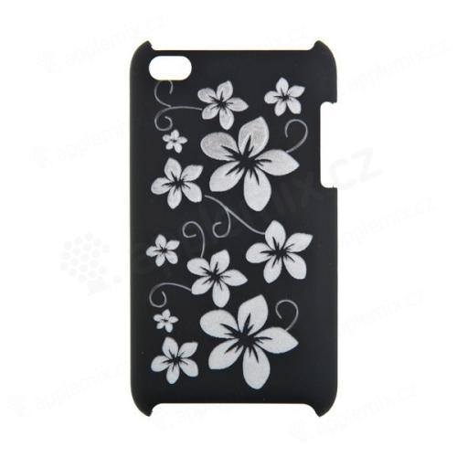 Ochranný kryt s vyřezávaným květinovým motivem pro iPod Touch 4 - černý