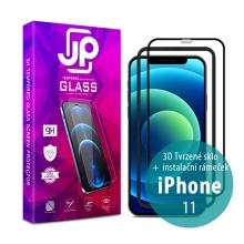 Tvrzené sklo JP pro Apple iPhone 11 - Case Friendly + aplikátor - černý rámeček