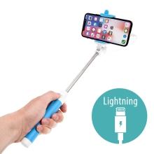 Selfie tyč / monopod - kabelová spoušť - konektor Lightning - modrá