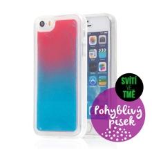 Kryt TACTICAL Glow pro Apple iPhone 5 / 5S / SE - pohyblivý svíticí písek - plastový - červený / modrý