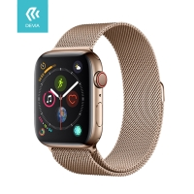 Řemínek DEVIA pro Apple Watch 44mm Series 4 / 5 / 6 / SE / 42mm 1 / 2 / 3 - nerezový - zlatý