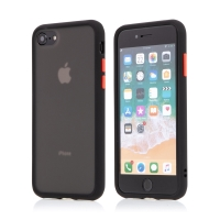 Kryt pro Apple iPhone 7 / 8 / SE (2020) - guma / plast - barevná tlačítka - černý