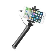Selfie tyč / monopod - kabelová spoušť - konektor Lightning - černá