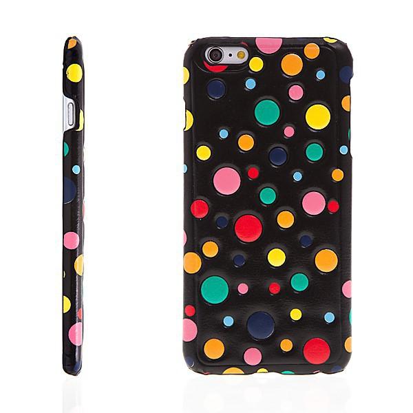 Plastový kryt pro iPhone 6 Plus / 6S Plus - barevné puntíky - černý