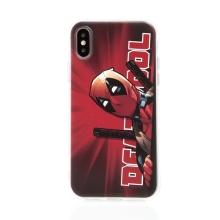 Kryt MARVEL pro Apple iPhone  X / Xs - gumový - Deadpool - červený