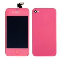 LCD panel včetně dotykového skla (digitizéru) a Home Buttonu pro Apple iPhone 4 a zadního krytu (skla) - růžový
