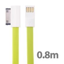 Synchronizační a nabíjecí USB kabel s 30pin konektorem pro Apple iPhone / iPad / iPod - zelený - 0,8m