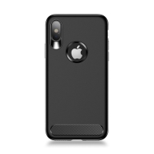 Kryt USAMS Muze pro Apple iPhone X- s výřezem pro logo - gumový - černý