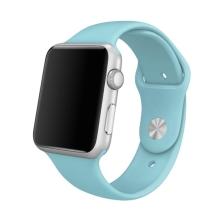 Řemínek pro Apple Watch 44mm Series 4 / 5 / 6 / SE / 42mm 1 / 2 / 3 - velikost S / M - silikonový - světle modrý