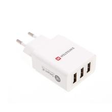 EU napájecí adaptér / nabíječka SWISSTEN Smart IC s 3 USB porty (3.1A) - bílý