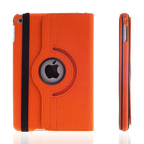 Pouzdro / kryt pro Apple iPad mini 4 - 360° otočný držák a prostor na doklady - oranžové