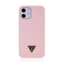 Kryt GUESS Silicone Metal Triangle pro Apple iPhone 12 / 12 Pro - silikonový - růžový