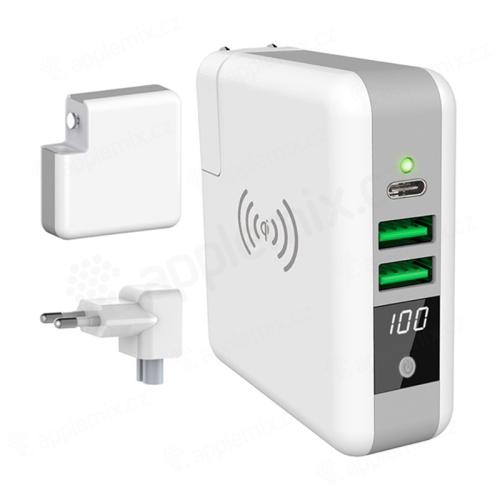 3v1 Externí baterie / Power bank FOREVER 6700 mAh + adaptér / nabíječka 2x USB + USB-C + Qi nabíjecí podložka