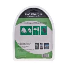 Nabíječka pro Apple iPhone / iPad / iPod se dvěma USB porty a kabelem - černá